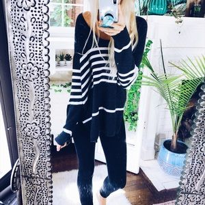 Charcoal Anika Woven Knit Pullover Sweater